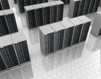 Datacenter: server room with server clusters Stock Photography