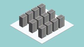 Datacenter-Serverraum Isometrische Bewegung lizenzfreie abbildung
