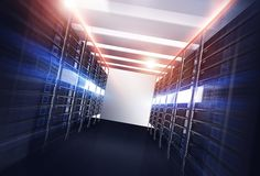 Datacenter Servers Alley Stock Images