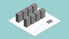 Datacenter serweru pokój Isometric ruch ilustracja wektor
