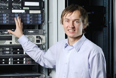 Datacenter specialist showing web server cluster Stock Photo