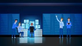 Datacenter Technology. Hardware Engineer Support. Datacenter Infrastructure. Hardware Engineer Support and Admininstration. Switchboard Workstation Equipment stock illustration