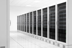 Datacenter with two rows. Of computers in white room Royalty Free Stock Images