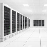 Datacenter with two rows. Of computers in white room Stock Images