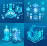 Datacentrum, cryptocurrency en blockchain technologie geplaatste markt isometrische vectorillustraties stock foto