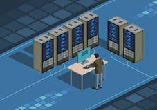 Datacentrum en systeembeheerder stock illustratie