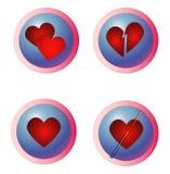 Datación del Internet - botones de los corazones Foto de archivo libre de regalías
