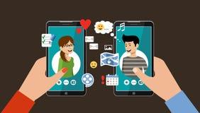 Datación en línea y concepto social del establecimiento de una red Amor virtual Imágenes de archivo libres de regalías
