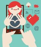 Datación y romance a través de Internet Fotos de archivo libres de regalías