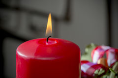 Datail burning red candle Stock Images