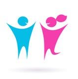 Datando, ícone do amor e dos pares - isolado no branco Imagem de Stock