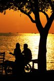 Datando sotto l'albero della spiaggia fotografia stock