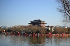 Datang furong garden with traditional chinese buildings of tang dynasty in Xian, Shaanxi, China stock photo