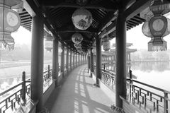 Promenade of datang furong garden in winter fog, black and white image stock photo