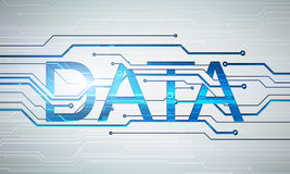Dataord för Digital bild på strömkretsmikrochipsbakgrund Arkivfoton