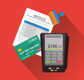 Dataphone credit card document paymet financial item icon. vector Royalty Free Stock Images