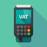 Dataphone largo de la sombra con el IVA de las siglas del impuesto sobre el valor añadido foto de archivo libre de regalías