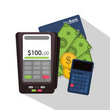 Dataphone of money concept. Dataphone calculator and credit card icon. Money financial item commerce market and payment theme. Colorful design. Vector Stock Images