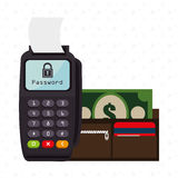Dataphone password money secure Royalty Free Stock Images