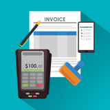 Dataphone pen document paymet financial item. Dataphone pen document payment financial item icon. Invoice design, vector illustration Stock Photo