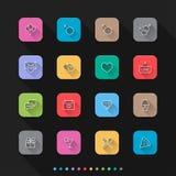 Datar & celebração ícones lisos do estilo ajustam-se - Vector a ilustração para a Web & o móbil Imagem de Stock