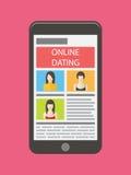 Datar do Internet, namoradeira em linha e relação móvel ilustração stock