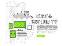 Datasäkerhet, internetskydd för PC, minnestavla, mobil och skrivbord stock illustrationer