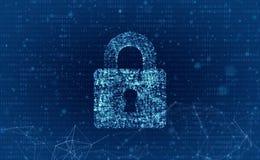 Datasäkerhet och datorserveren knyter kontakt säkerhet med en protecti Fotografering för Bildbyråer