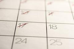 Datas de calendário marcadas para fora fotografia de stock