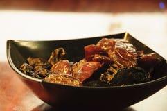 Datas em um alimento tropical Ásia da sobremesa da bacia Fotografia de Stock