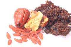 Datas vermelhas, wolfberry chinês, açúcar mascavado, Imagem de Stock Royalty Free