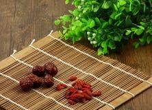 Datas wolfberry e vermelhas chinesas Imagem de Stock