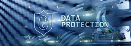 Dataskydd, Cybersäkerhet, informationsavskildhet Internet- och teknologibegrepp Serverrumbakgrund royaltyfri illustrationer