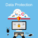 Dataskydd eller internetsäkerhetsillustration Arkivfoto