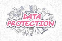 Dataskydd - magentafärgad text för klotter äganderätt för home tangent för affärsidé som guld- ner skyen till Arkivfoton