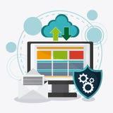 Dataskydd och Cybersäkerhetssystem stock illustrationer