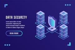 Dataskydd och internetsäkerhet, datalagring, datasäkerhet Vektorillustration i plan isometrisk stil 3D royaltyfri illustrationer