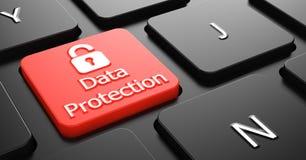 Dataskydd på den röda tangentbordknappen. Arkivfoton