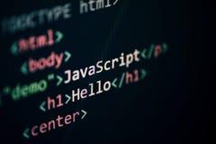 Dataspråk som programmerar skärmen för skärm för delar för redaktör för text för Javascriptkodinternet royaltyfri foto