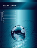 Datastream. Business background/template with glossy globe and binary code Stock Image