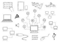 Datatekniker och internetkommunikationsuppsättning Fotografering för Bildbyråer