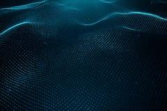Datateknologi, abstrakt globalt nätverk Våg av partiklar Abstrakt bakgrund, krabb yttersida som består av punkter - stock illustrationer