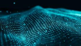 Datateknologiillustration Våg med förbindande prickar och linjer på mörk bakgrund Våg av partiklar framförande 3d vektor illustrationer
