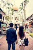 Datation asiatique de couples jugeant des mains extérieures Images libres de droits