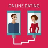 Datation d'Internet, flirt en ligne et relation mobile Photo stock