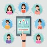 Datation en ligne par l'intermédiaire de réseau social Images libres de droits