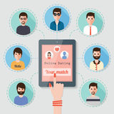 Datation en ligne par l'intermédiaire de réseau social Photo libre de droits
