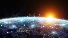 Datautbyte och globalt nätverk över tolkningen för värld 3D Arkivfoto