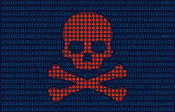 Datavirusinfektionskalle av dödlägenhetillustrationen för websites Royaltyfria Bilder