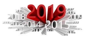 Datawolk met het jaar 2019 in rood royalty-vrije illustratie